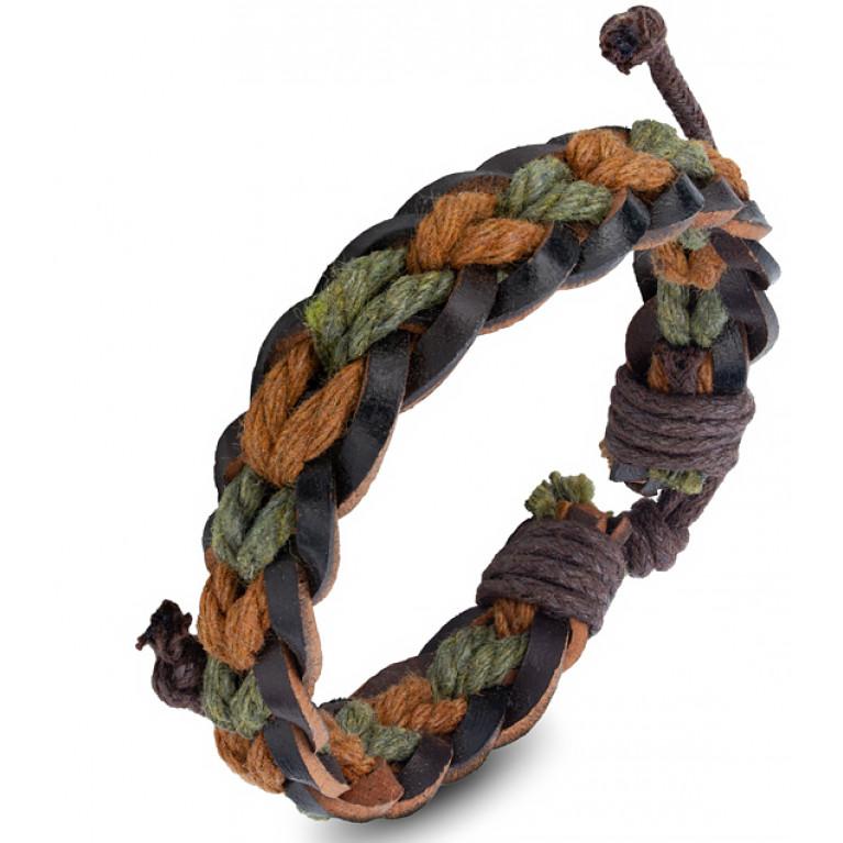Браслет коричневый Бонго зелено-коричневый переплёт на затяжках