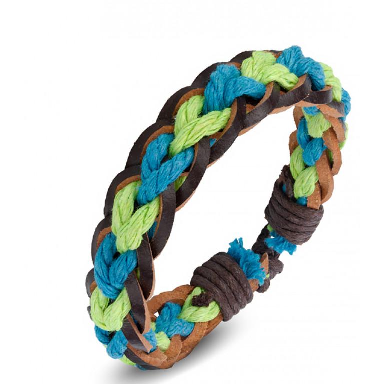 Браслет коричневый Бонго зелено-голубой переплёт на затяжках