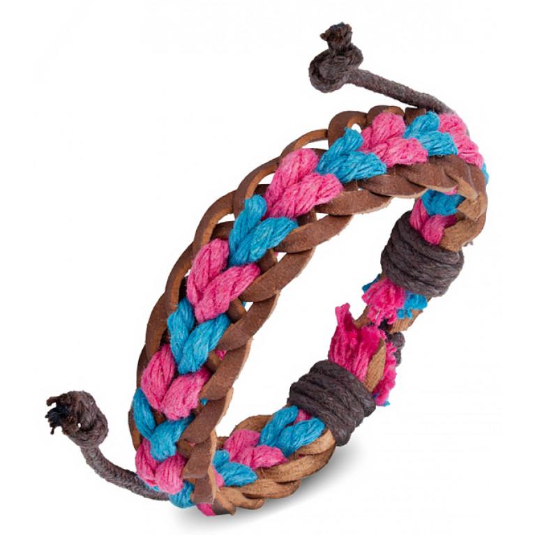 Браслет коричневый Бонго розово-голубой переплёт на затяжках