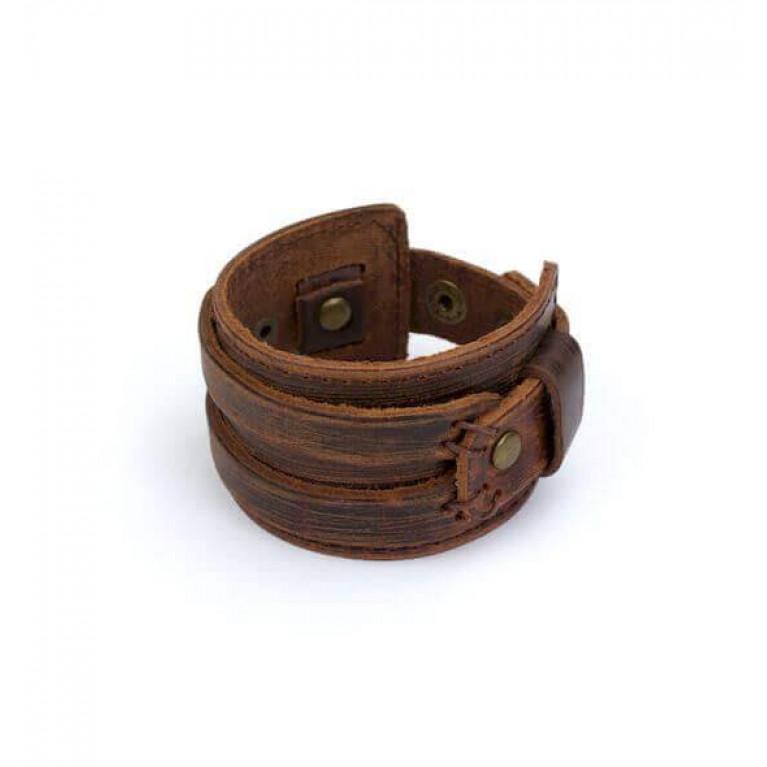 Браслет коричневый из натуральной кожи с ремешком