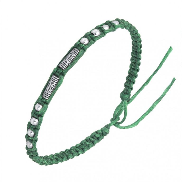 Браслет зеленый с оловянными вставками на затяжках