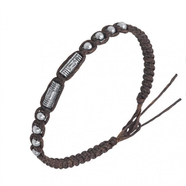 Браслет коричневый с оловянными вставками на затяжках