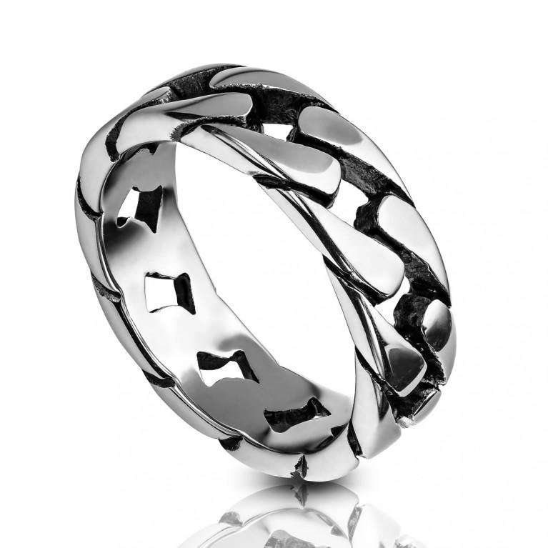 Кольцо из ювелирной стали Цепь