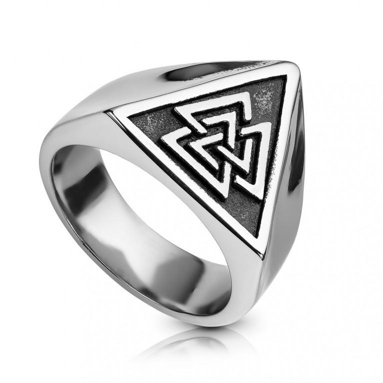 Перстень из ювелирной стали Валькнут