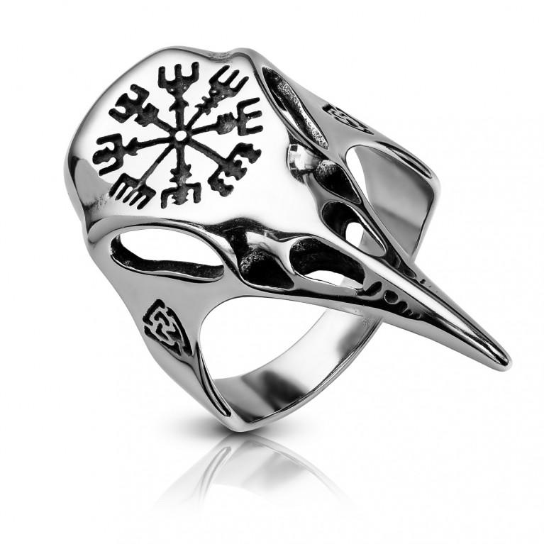 Перстень из ювелирной стали череп ворона Вегвизир
