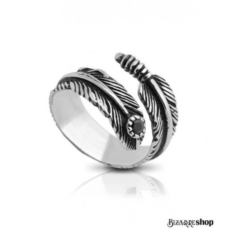 Кольцо стальное Перо