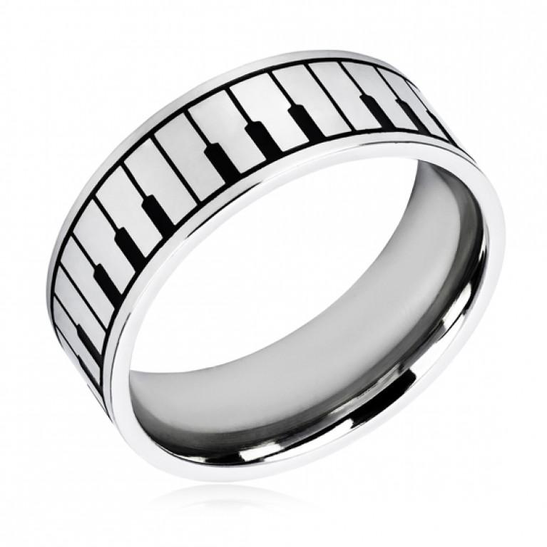 Кольцо из ювелирной стали Клавиши