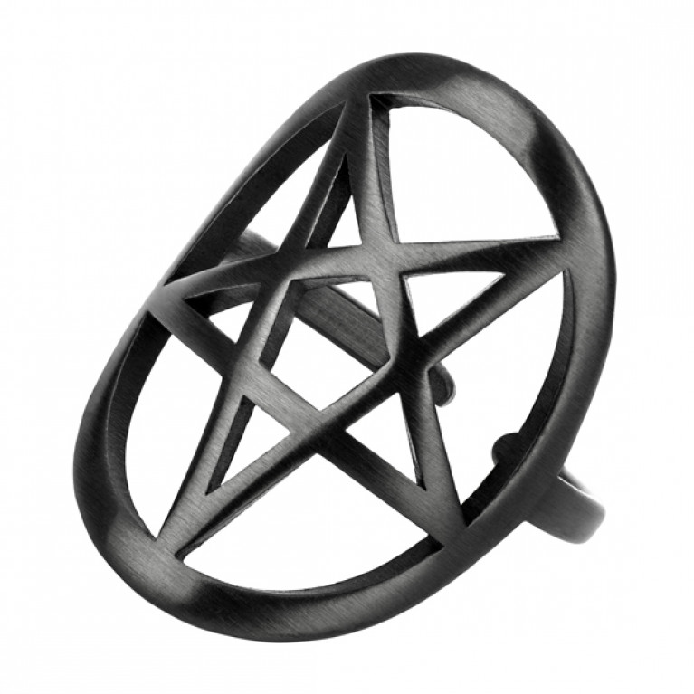 Кольцо черное матовое из ювелирной стали Пентаграмма
