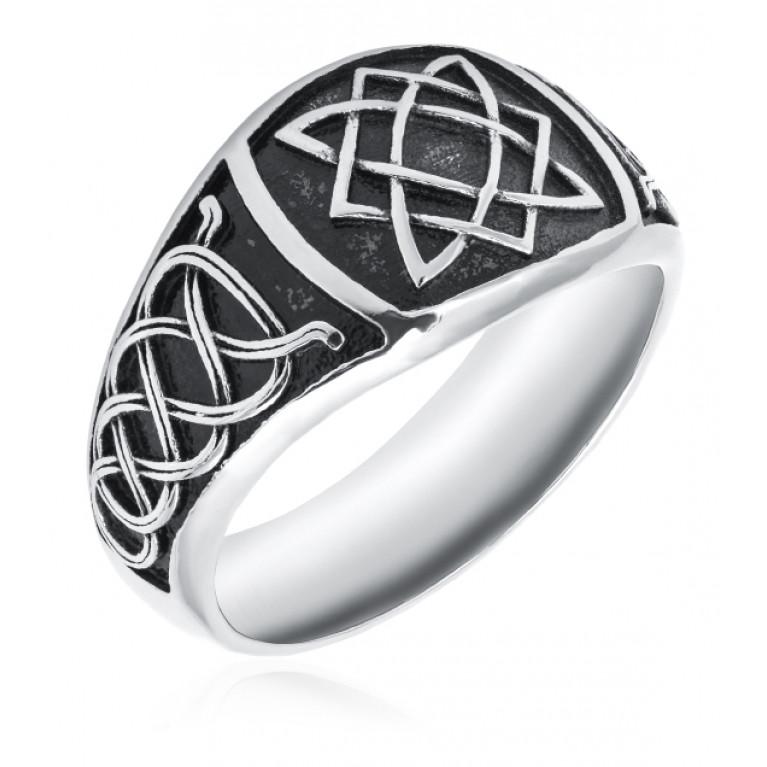 Перстень из ювелирной стали Квадрат Сварога