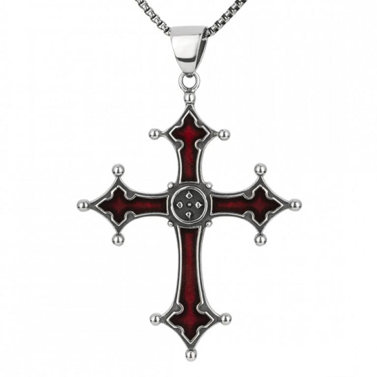 Подвеска Крест из ювелирной стали с красной эмалью