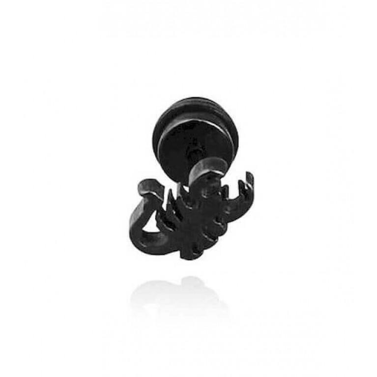 Фейк серьга черная скорпион толщина пина 1.2 мм. длина 7 мм.