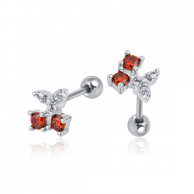 Фейк серьга Cherry c кристаллами
