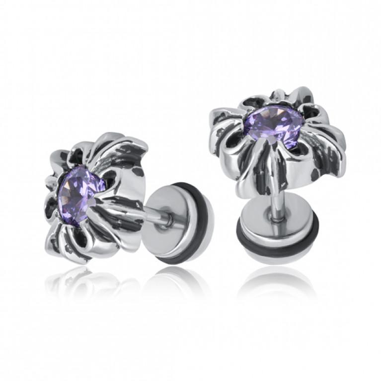 Фейк серьга цветок с фиолетовым кристаллом